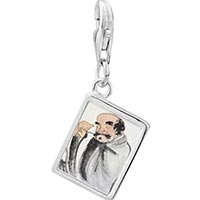 Link Charm Bracelet - 925  sterling silver self joyfulness painting photo rectangle frame link charm Image.