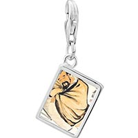 Link Charm Bracelet - 925  sterling silver steeling the wine vat painting photo rectangle frame link charm Image.