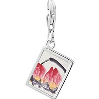 Link Charm Bracelet - 925  sterling silver peaches painting photo rectangle frame link charm Image.