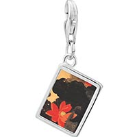 Link Charm Bracelet - 925  sterling silver red lotus painting photo rectangle frame link charm Image.