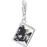 Link Charm Bracelet - 925  sterling silver galloping equestrian horse painting photo rectangle frame charm Image.
