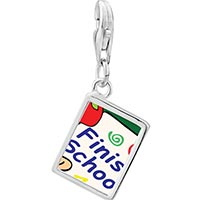 Link Charm Bracelet - 925  sterling silver finish school photo rectangle frame link charm Image.