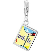 Link Charm Bracelet - 925  sterling silver drink less alcohol photo rectangle frame link charm Image.