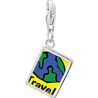 Link Charm Bracelet - 925  sterling silver travel more photo rectangle frame link charm Image.
