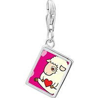 Link Charm Bracelet - 925  sterling silver sheep love photo rectangle frame link charm Image.