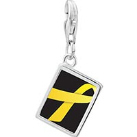 Link Charm Bracelet - 925  sterling silver yellow ribbon awareness photo rectangle frame link charm Image.