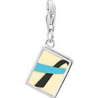 Link Charm Bracelet - 925  sterling silver black and blue ribbon awareness photo rectangle frame link charm Image.