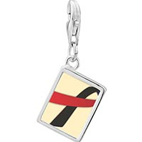 Link Charm Bracelet - 925  sterling silver black and red ribbon awareness photo rectangle frame link charm Image.