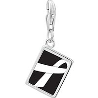 Link Charm Bracelet - 925  sterling silver white ribbon awareness photo rectangle frame link charm Image.