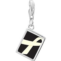 Link Charm Bracelet - 925  sterling silver pearl and white ribbon awareness photo rectangle frame link charm Image.