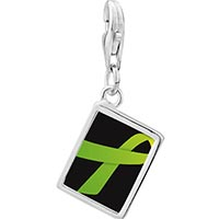 Link Charm Bracelet - 925  sterling silver lime green ribbon awareness photo rectangle frame link charm Image.