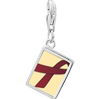 Link Charm Bracelet - 925  sterling silver burgundy ribbon awareness photo rectangle frame link charm Image.