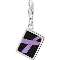 Link Charm Bracelet - 925  sterling silver lavender ribbon awareness photo rectangle frame link charm Image.
