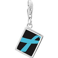 Link Charm Bracelet - 925  sterling silver light blue ribbon awareness photo rectangle frame link charm Image.