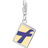 Link Charm Bracelet - 925  sterling silver periwinkle ribbon awareness photo rectangle frame link charm Image.