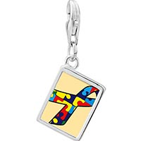 Link Charm Bracelet - 925  sterling silver jigsaw puzzle ribbon awareness photo rectangle frame link charm Image.