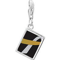 Link Charm Bracelet - 925  sterling silver gold and silver ribbon awareness photo rectangle frame link charm Image.