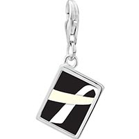 Link Charm Bracelet - 925  sterling silver white ribbon awareness white and black photo rectangle frame link charm Image.