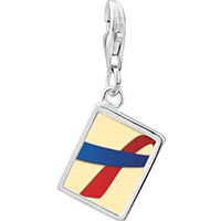 Link Charm Bracelet - 925  sterling silver red and blue ribbon awareness photo rectangle frame link charm Image.