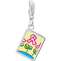 Link Charm Bracelet - 925  sterling silver pink ribbon flowers photo rectangle frame link charm Image.