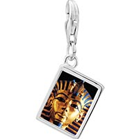 Link Charm Bracelet - 925  sterling silver gold plated egyptian mummy tutankhamen photo rectangle frame link charm Image.