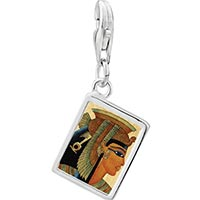 Link Charm Bracelet - 925  sterling silver gold plated egyptian queen cleopatra photo rectangle frame link charm Image.
