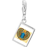 Link Charm Bracelet - 925  sterling silver gold plated egyptian khepri photo rectangle frame link charm Image.