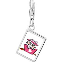 Link Charm Bracelet - 925  sterling silver gold plated valentine' s day rat cartoon photo rectangle frame link charm Image.