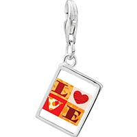 "Link Charm Bracelet - 925  sterling silver gold plated valentine' s day "" love""  photo rectangle frame link charm Image."