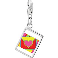Link Charm Bracelet - 925  sterling silver gold plated valentine' s day heart envelope photo rectangle frame link charm Image.