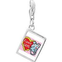 Link Charm Bracelet - 925  sterling silver gold plated valentine' s day funny love mouse photo rectangle frame link charm Image.