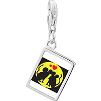 Link Charm Bracelet - 925  sterling silver gold plated valentine' s day mouse in love photo rectangle frame link charm Image.