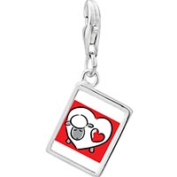 Link Charm Bracelet - 925  sterling silver valentine' s day heart shaped sheep photo link charm Image.