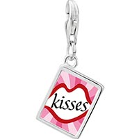 Link Charm Bracelet - 925  sterling silver gold plated valentine' s day lip kisses photo rectangle frame link charm Image.