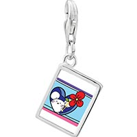 Link Charm Bracelet - 925  sterling silver gold plated valentine' s day red rose mouse photo rectangle frame link charm Image.