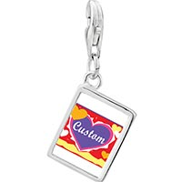 925 Sterling Silver Gold Plated Valentine S Day Custom Hearts Photo Rectangle Frame Link Charm