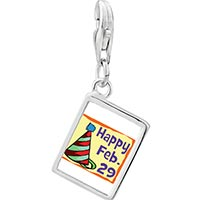 Link Charm Bracelet - 925  sterling silver gold plated leap day photo rectangle frame link charm Image.