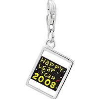 Link Charm Bracelet - 925  sterling silver gold plated happy leap year photo rectangle frame link charm Image.