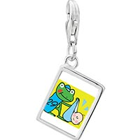 Link Charm Bracelet - 925  sterling silver gold plated leap day frog stork photo rectangle frame link charm Image.