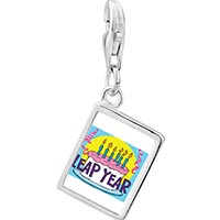 Link Charm Bracelet - 925  sterling silver gold plated leap year birthday cake photo rectangle frame link charm Image.