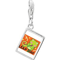 Link Charm Bracelet - 925  sterling silver gold plated leap day party frog photo rectangle frame link charm Image.