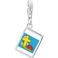 Link Charm Bracelet - 925  sterling silver cross yellow photo rectangle frame link charm Image.