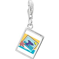 Link Charm Bracelet - 925  sterling silver gold plated travel whale photo rectangle frame link charm Image.