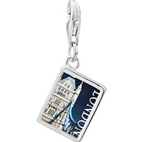 Link Charm Bracelet - 925  sterling silver gold plated landmark london photo rectangle frame link charm Image.