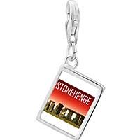 Link Charm Bracelet - 925  sterling silver gold plated landmark stonehenge photo rectangle frame link charm Image.