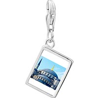 Link Charm Bracelet - 925  sterling silver gold plated landmark taj photo rectangle frame link charm Image.