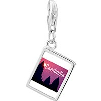 Link Charm Bracelet - 925  sterling silver gold plated travel angkor wat photo rectangle frame link charm Image.