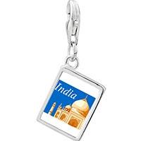 Link Charm Bracelet - travel resort of taj mahal photo square dangle 925  sterling silver Image.