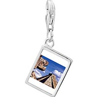 Link Charm Bracelet - 925  sterling silver gold plated travel chichen itza mexico photo rectangle frame link charm Image.