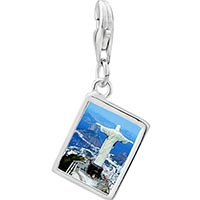Link Charm Bracelet - 925  sterling silver travel statue of christ the redeemer photo link charm Image.